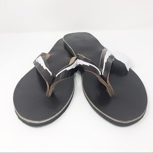 4072c919149ac Brown Leather Flip Flop Sandals Beaded Hand Sown NWT